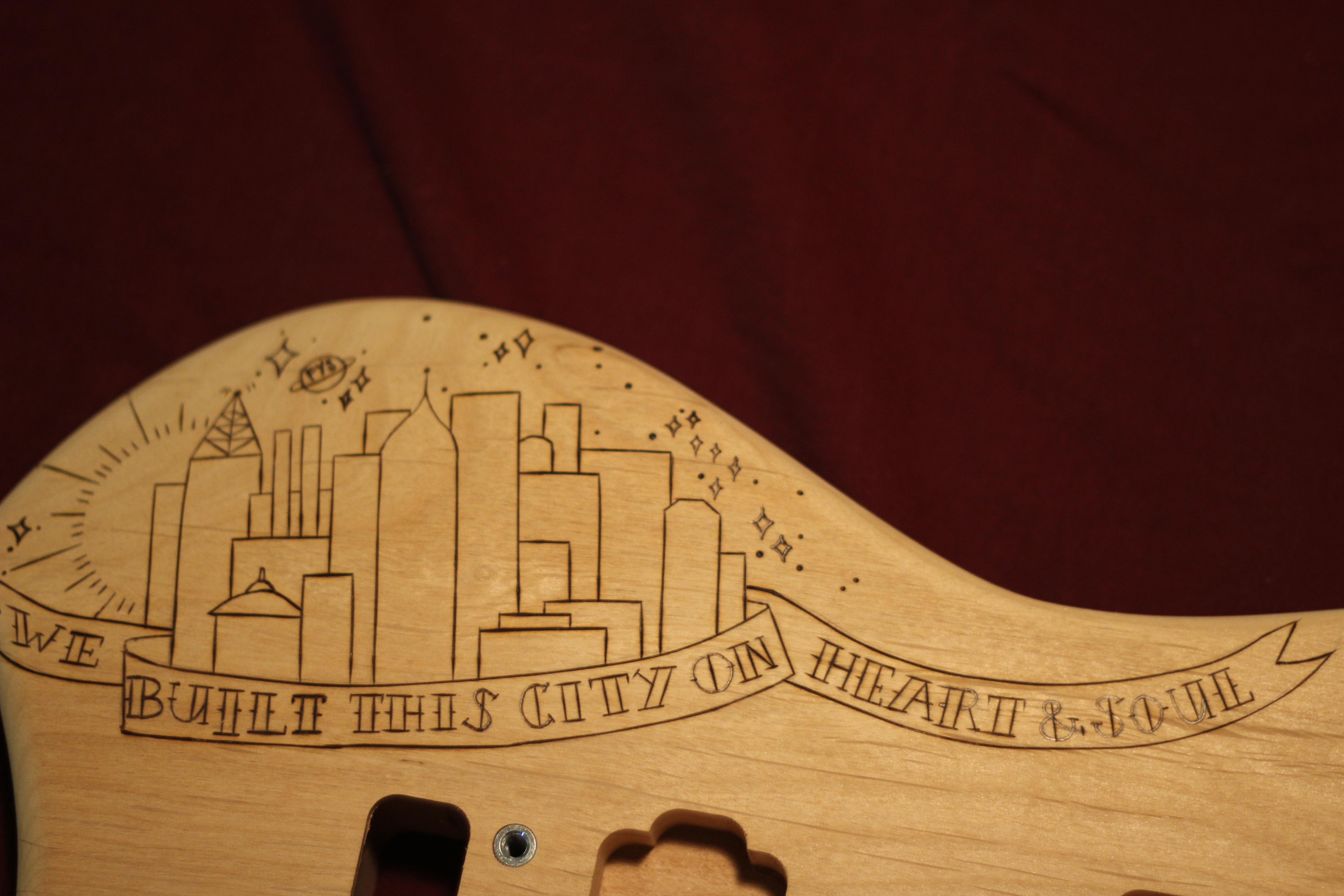 DIY Guitar Part 2 Sketching Woodburning